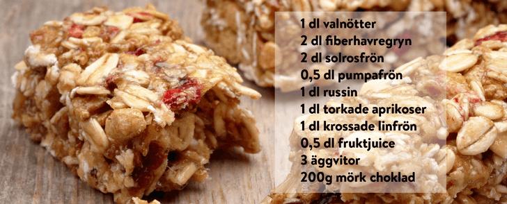 Recept på egna energibars – på bara 163 kalorier