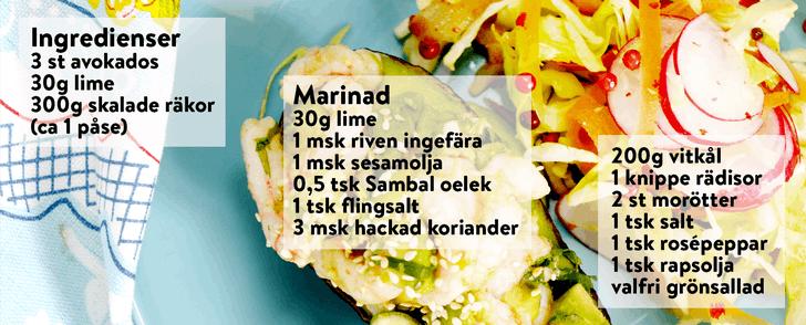 Recept på fylld avokado med räkor – på under 400 kalorier
