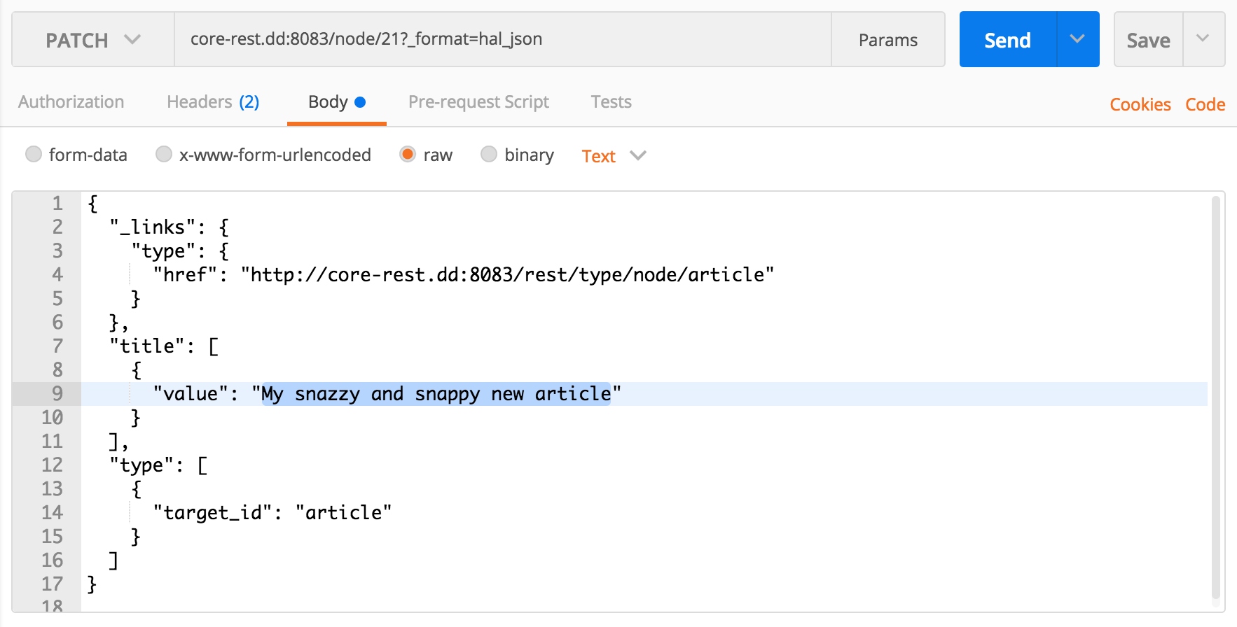 Issuing a PATCH request with Postman