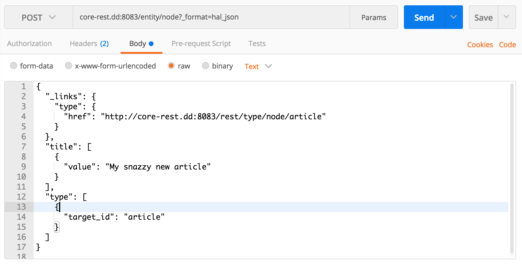 Issuing a POST request with Postman
