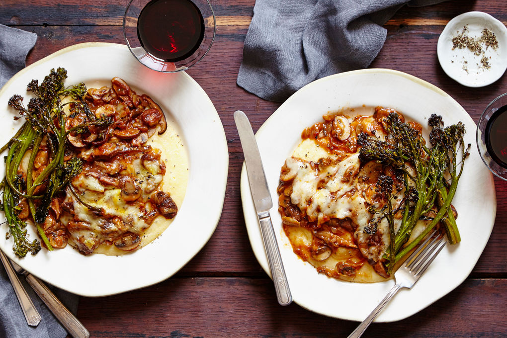 Mushroom Ragu and Polenta with Fontina and Roasted Broccolini