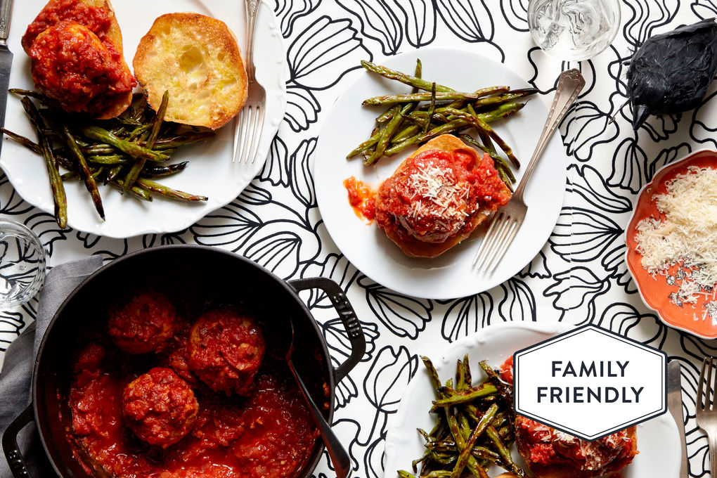 Monster Turkey Meatballs with Charred Green Beans