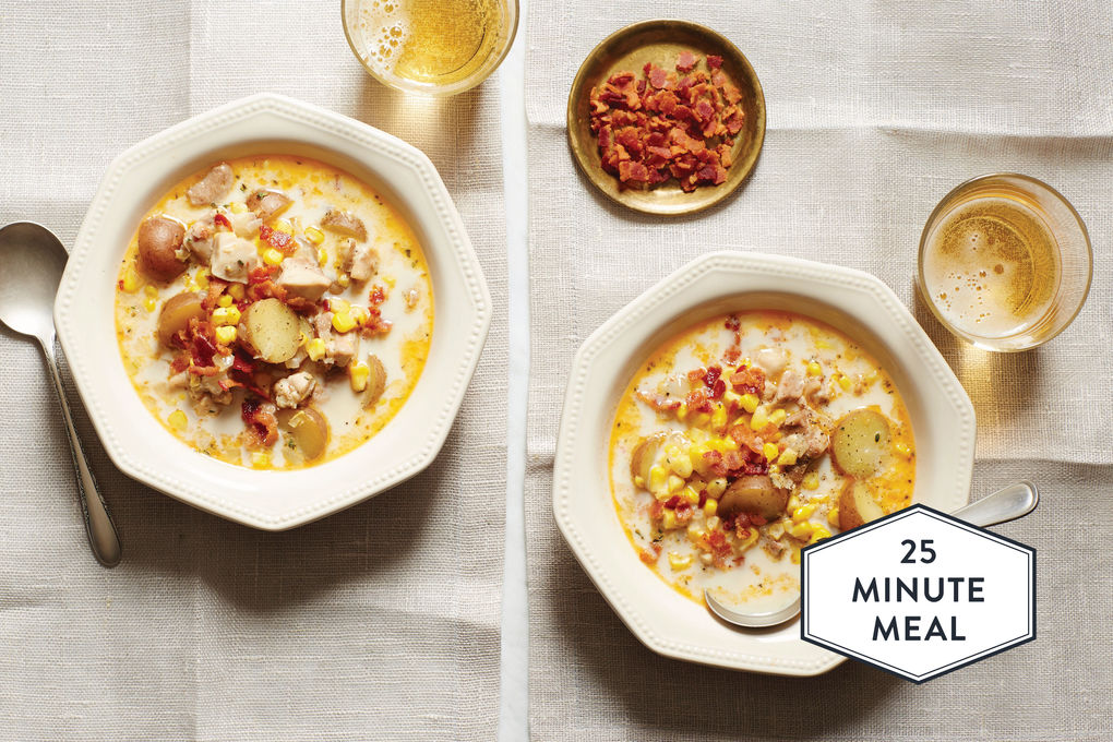 Chipotle Chicken Chowder with Corn, Bacon, and Potatoes