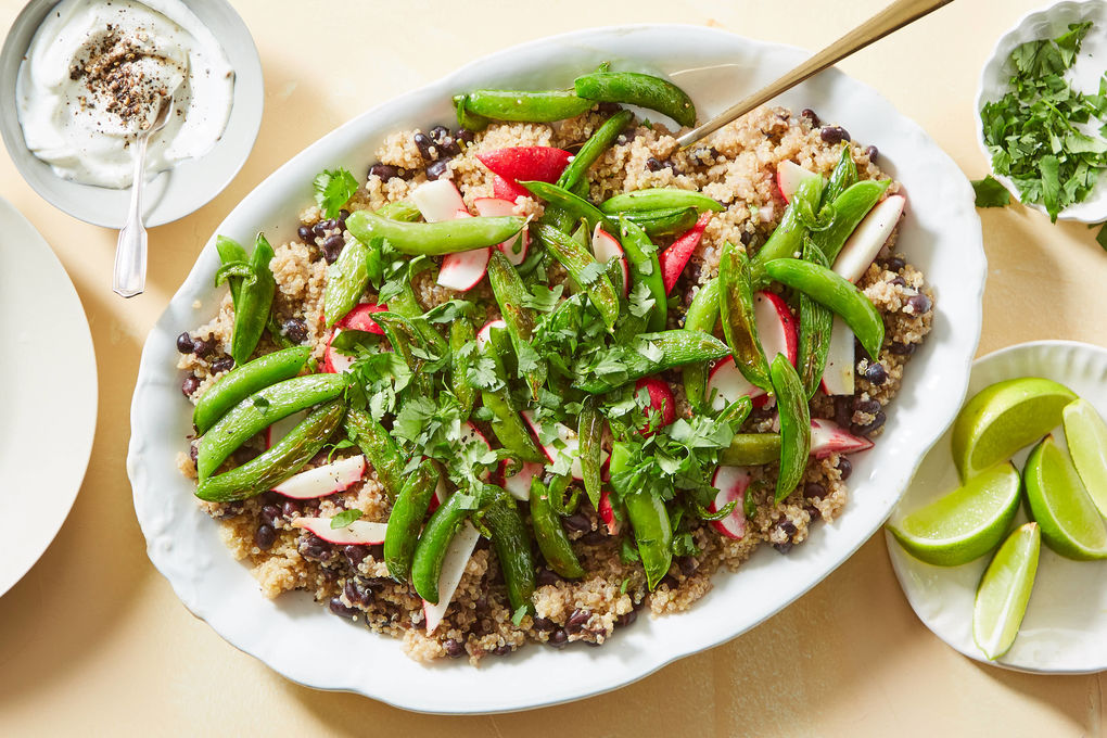 Black Bean Quinoa Bowl with Spicy Snap Peas & Radish Salad