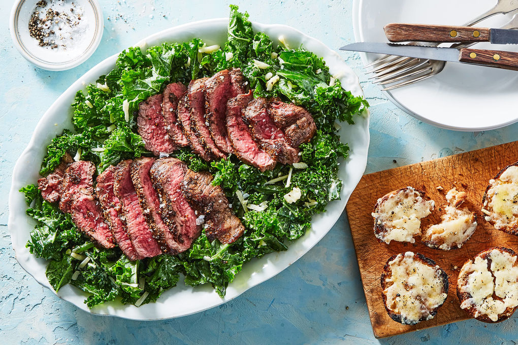 Seared Lemon-Pepper Steak with Kale Caesar & Garlic-Parm Rolls