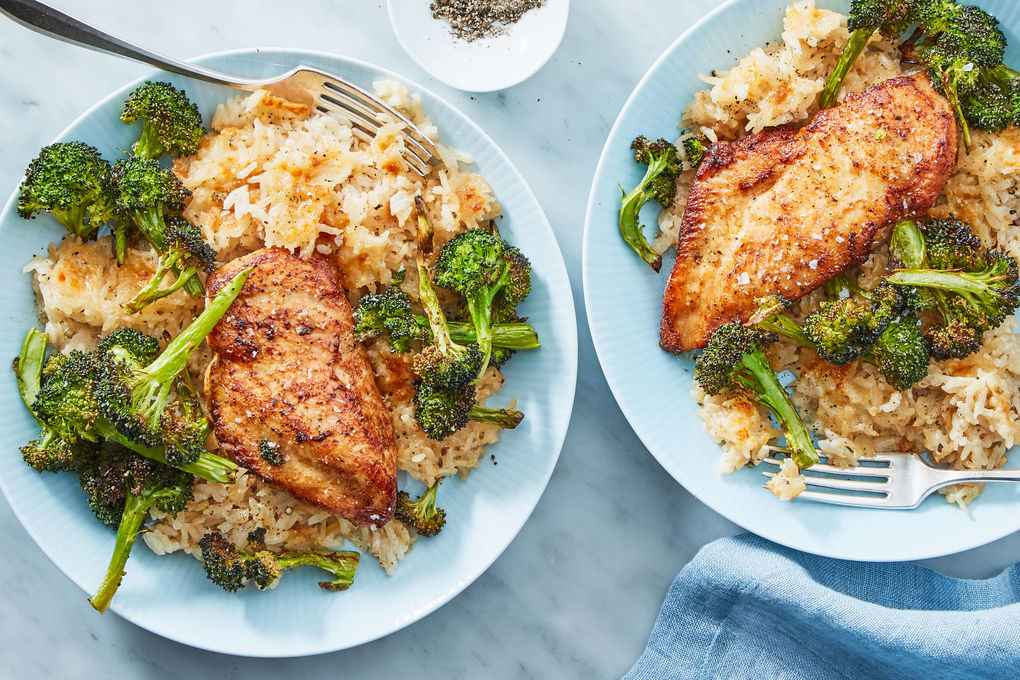 Roasted Chicken & Broccoli with Cheddar Rice Casserole