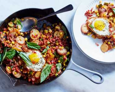 corn and zucchini hash with pancetta