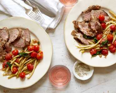 grilled pork tenderloin with stewed wax beans and tomatoes