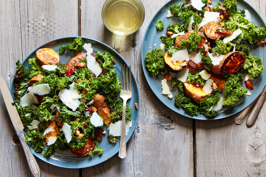 Roasted Sweet Potato and Kale Salad with Almonds, Dates, and Parmesan