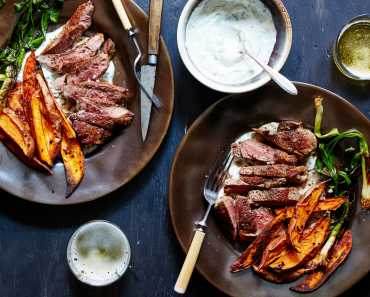 lamb & spicy sweet potatoes with lime yogurt