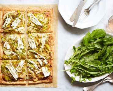 savory leek & cabbage tart with cheese and arugula salad