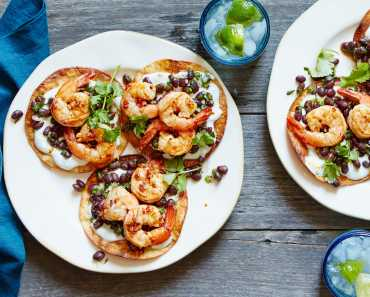 shrimp tostadas with black beans and lime yogurt