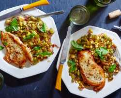 chicken paillards & succotash with okra and basil