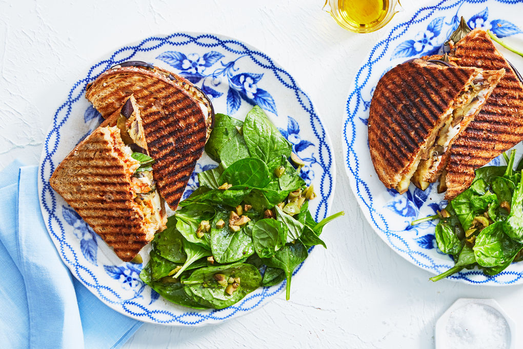 Eggplant Parm Grilled Cheese with Spinach Salad