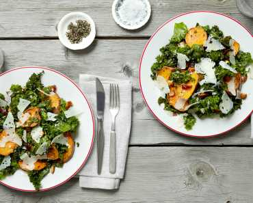 roasted sweet potato and kale salad with almonds, dates, and pecorino
