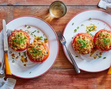 white bean stuffed tomatoes with panko & parmesan
