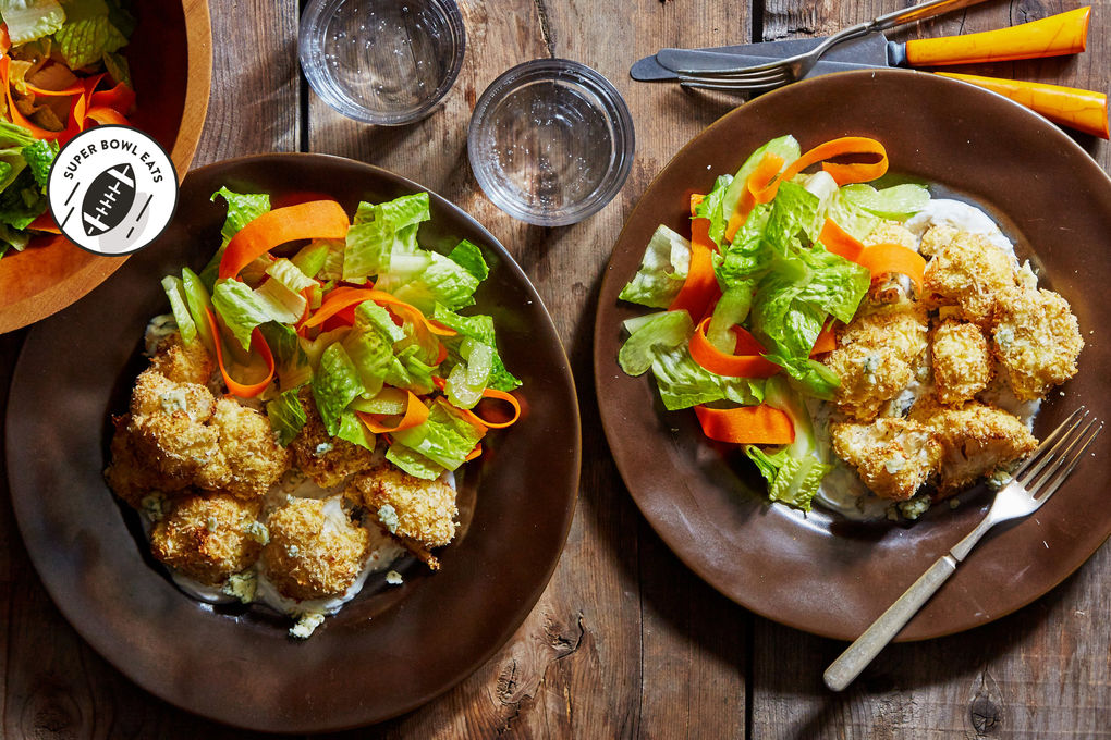 Buffalo Cauliflower Salad with Creamy Gorgonzola Dressing
