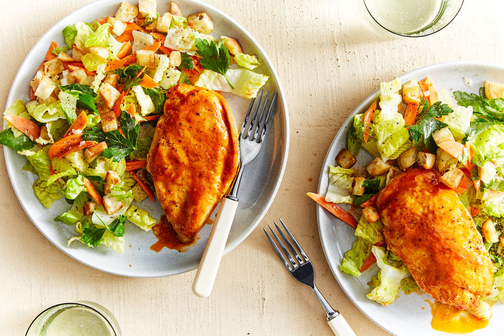 Buffalo Glazed Chicken Breast with Chopped Salad