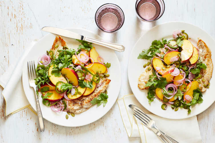 Chicken Paillards with Pickled Peach and Arugula Salad
