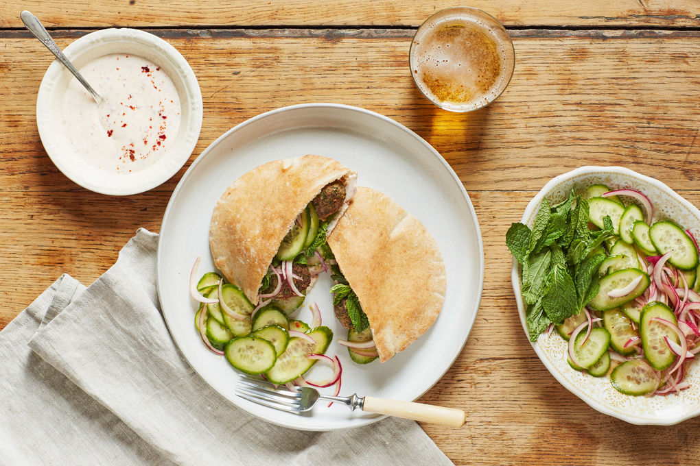 Lamb Meatball Pitas with Spiced Yogurt & Pickled Cucumber