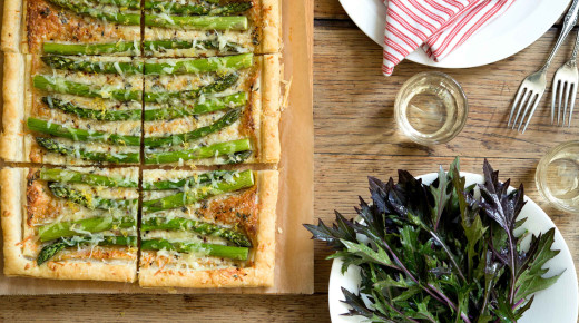 asparagus tart with lemony mezuna salad