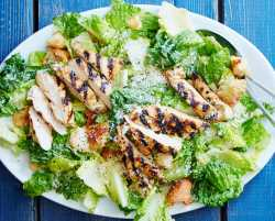 grilled chicken caesar salad with ciabatta croutons