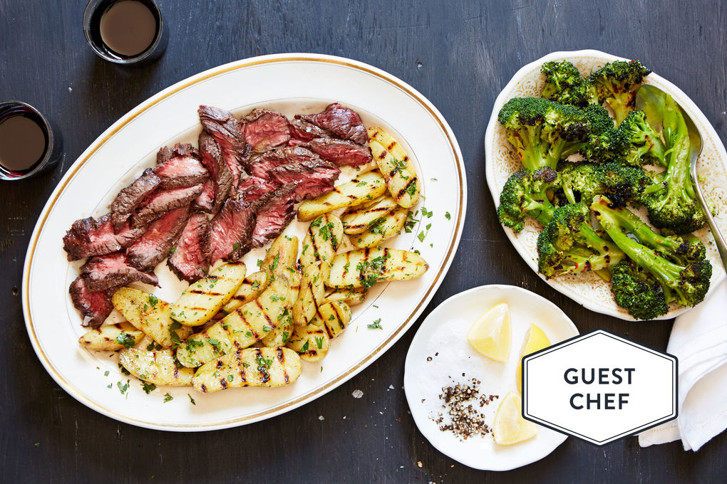 Grilled Hanger Steaks with Fingerling Potatoes, Broccoli and Garlic Butter