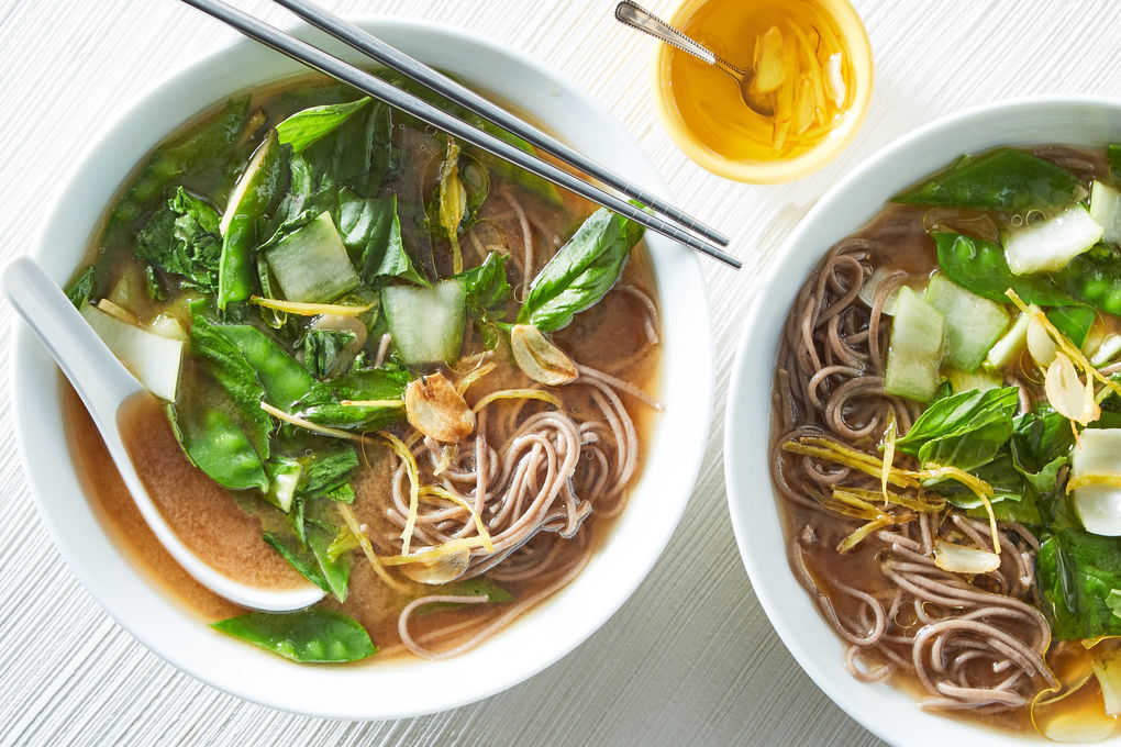 Miso Soup and Soba Noodles with Baby Bok Choy and Snow Peas
