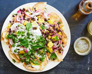 healthy nachos with charred jalapeño yogurt
