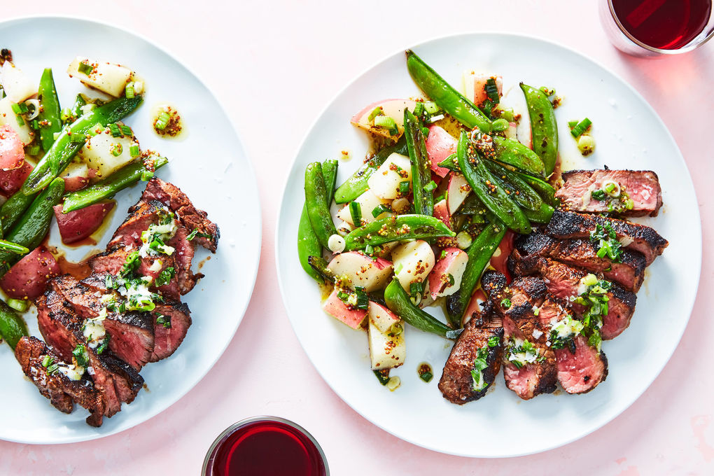 Chipotle Spiced Steak with Potato Salad & Charred Snap Peas
