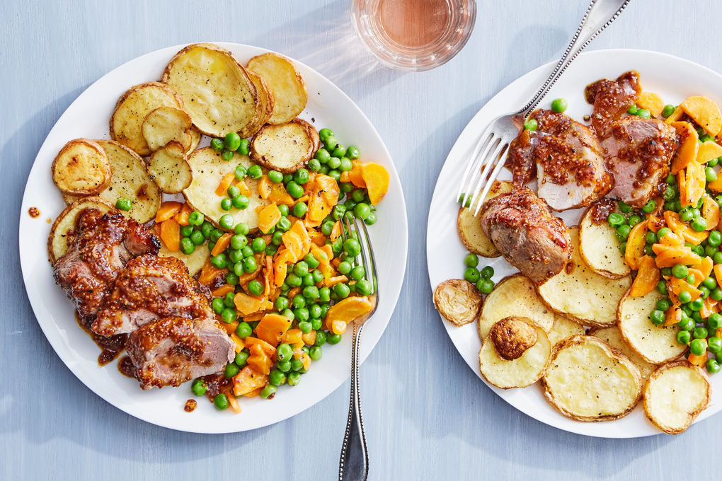 Apricot-Mustard Glazed Pork with Roasted Potatoes & Buttered Peas