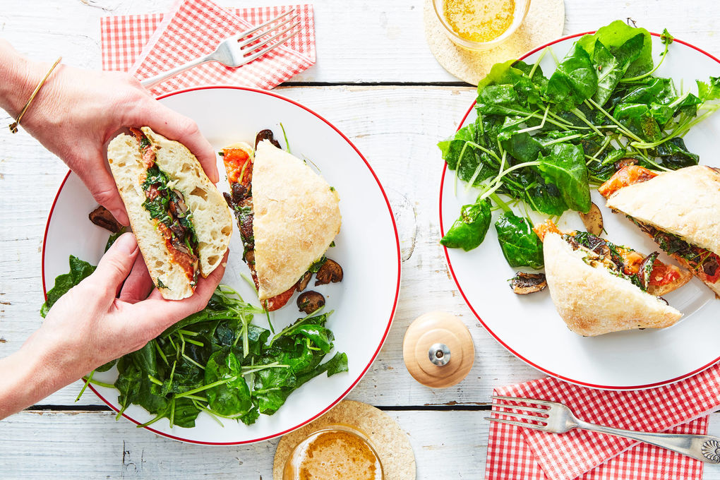Roasted Vegetable Sandwiches with Basil Mayo & Kale Salad