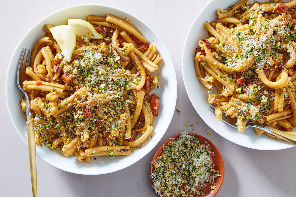 Pan Roasted Carrot Pasta with Parsley & Pistachios