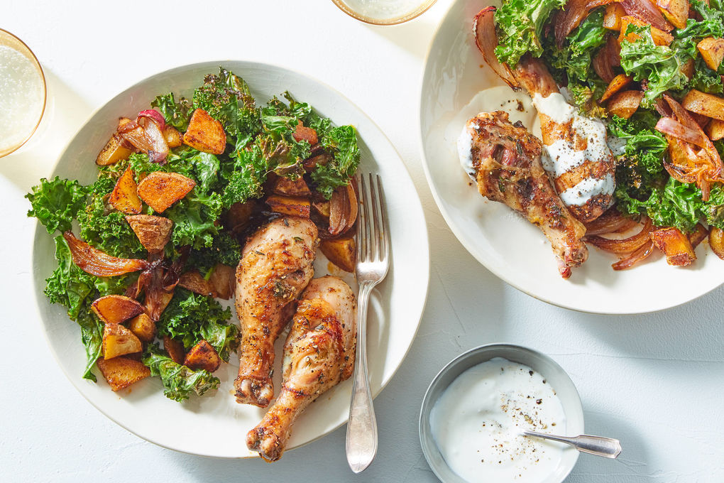 Chicken & Spiced Potatoes with Onions, Kale, and Sour Cream