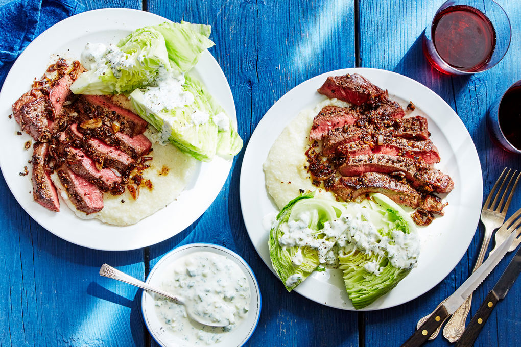 Peppered Steak and Grits with Wedge Salad & Ranch Dressing