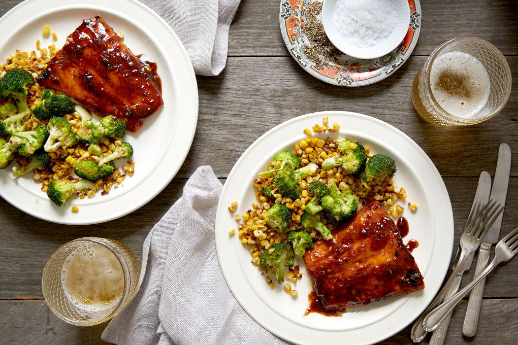 Sticky Glazed Salmon with Ginger Corn and Broccoli