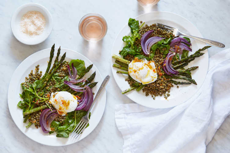 lentil and asparagus salad