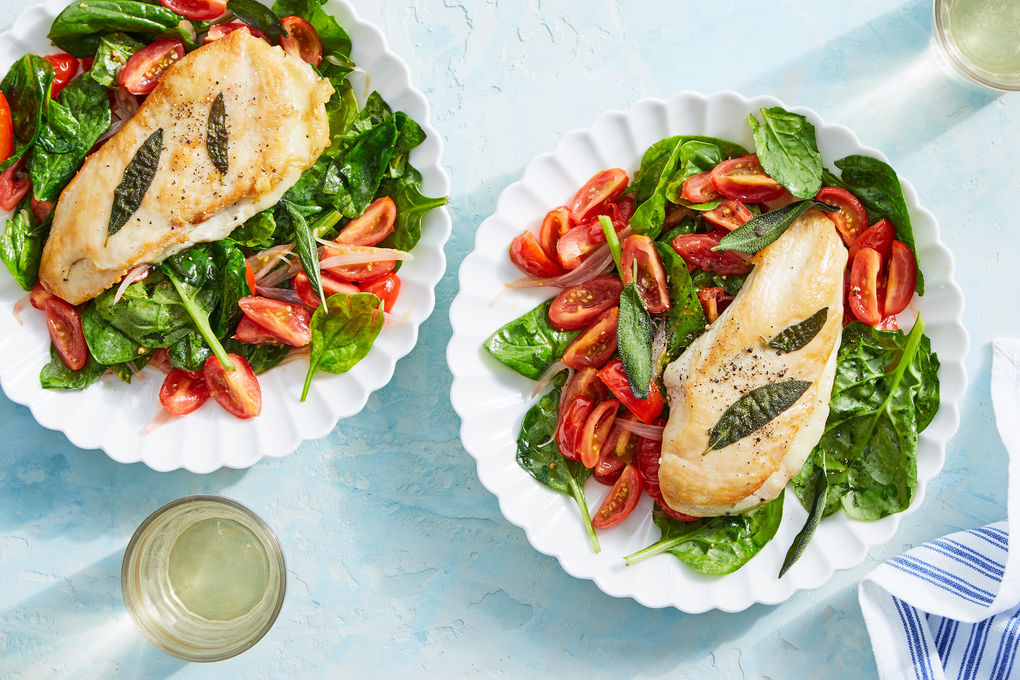 Sage & Cheese-Stuffed Chicken with Spinach & Tomatoes