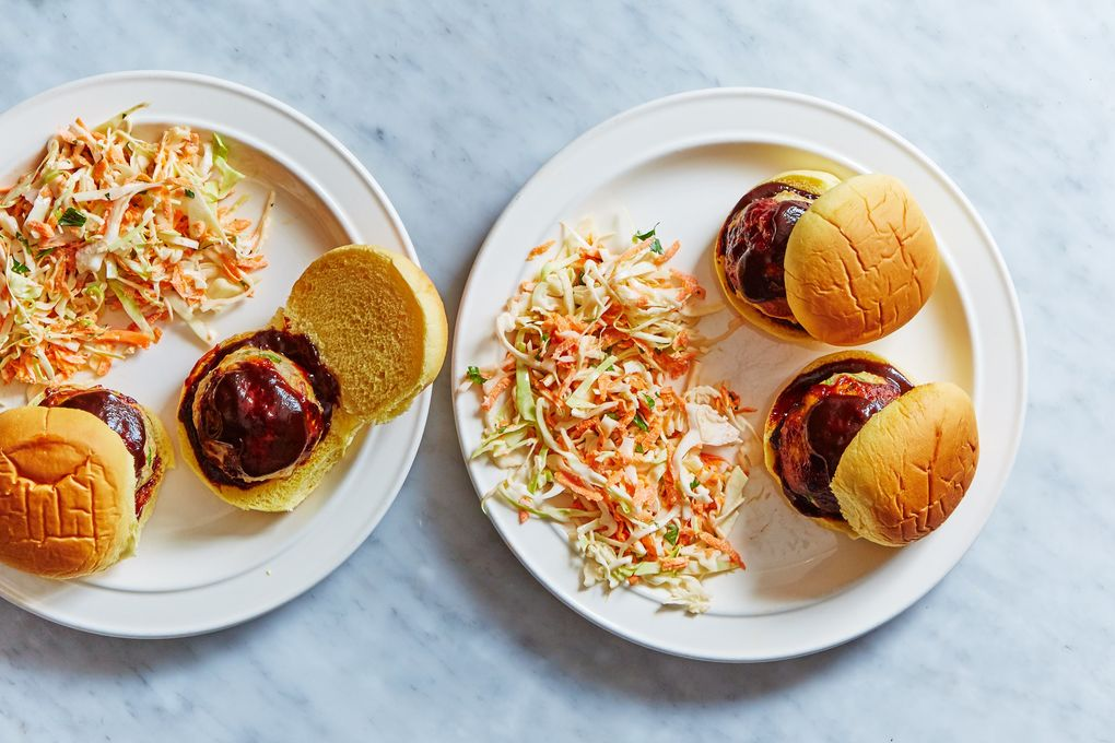 BBQ Turkey Meatball Sliders with Cole Slaw