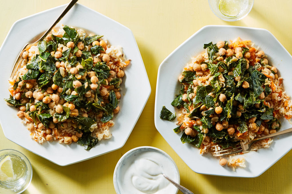 Curried Chickpeas and Collards with Carrot-Cumin Rice Pilaf
