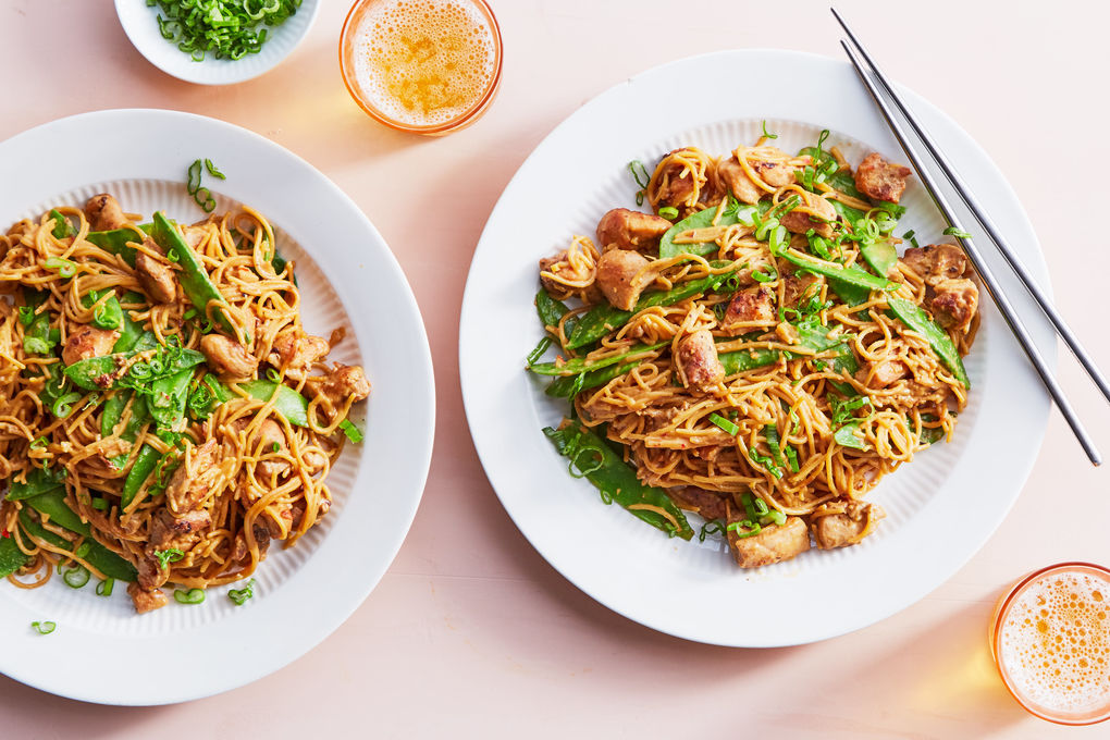 Chicken in Peanut Sauce with Noodles and Snow Peas