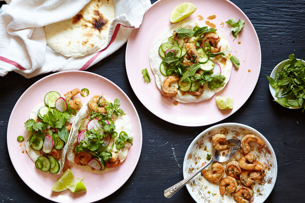 Spicy Shrimp Tacos with Radishes, Cucumber and Chile