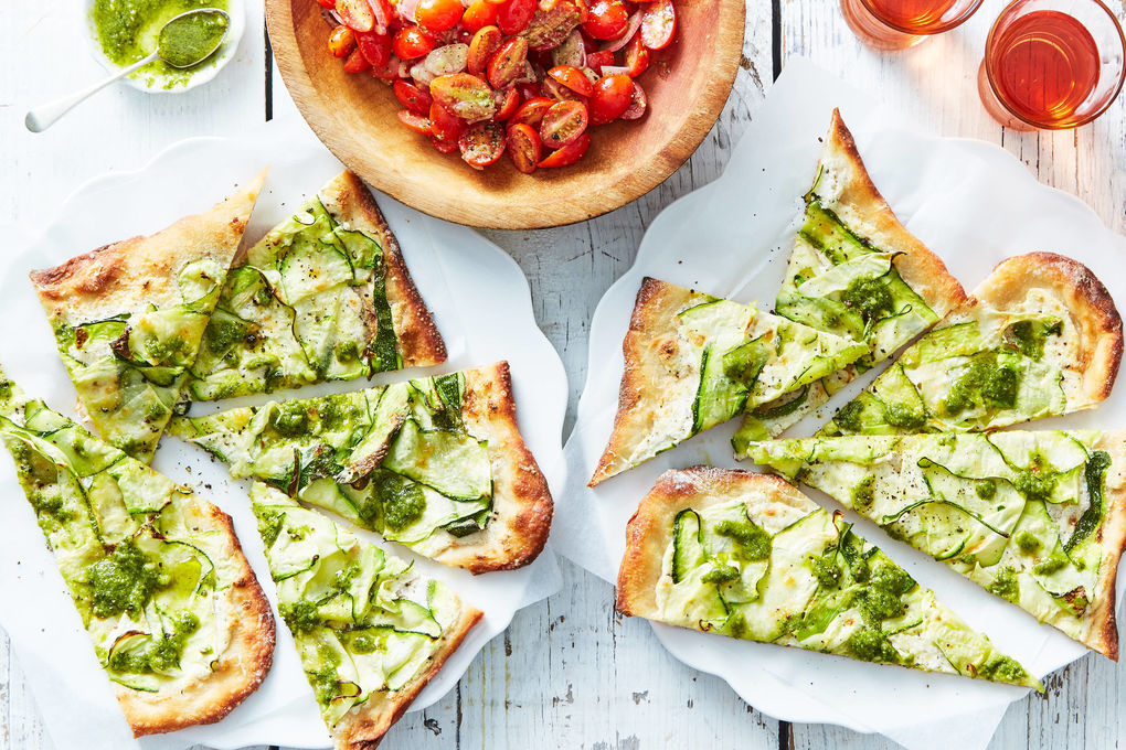Zucchini & Basil Pesto Pizza with Tomato Salad