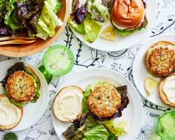 fish burgers with red leaf lettuce salad
