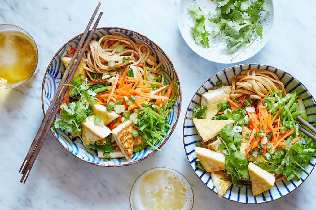 Crispy Tofu and Peanut Noodles with Carrots, Snow Peas & Scallions