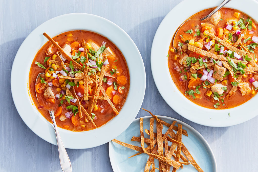 Spicy Chicken Tortilla Soup with Cilantro and Corn