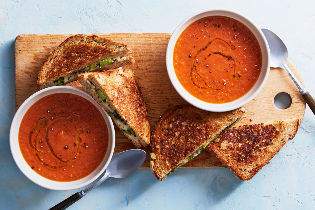 Tomato Soup with Broccoli Grilled Cheese
