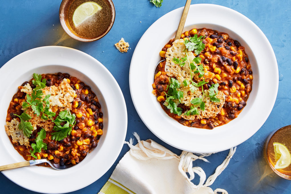 Black Bean Chili with Cheddar Crisps