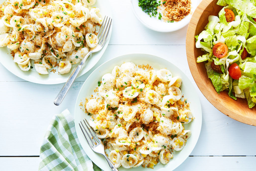 Creamy Corn Pasta with Chives, Crispy Crumbs & Salad