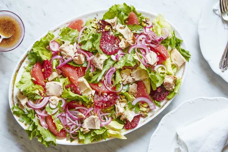 escarole and citrus salad with tuna and pistachios